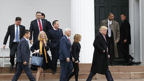 President-elect Donald Trump, foreground from right, Charlotte Pence, Vice President-elect Mike Pence, incoming White House Chief of Staff Reince Priebus and Kellyanne Conway leave services at Lamington Presbyterian Church in Bedminster, N.J., Sunday, Nov. 20, 2016. - Sputnik International