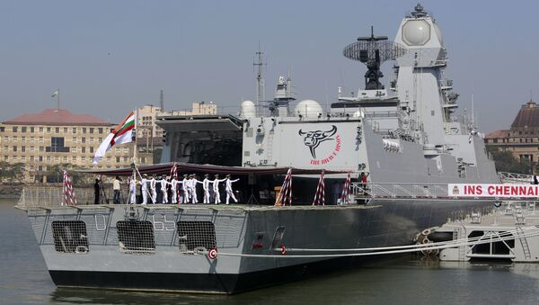 Indian naval sailors march during the commissioning ceremony of INS Chennai in Mumbai, India - Sputnik International