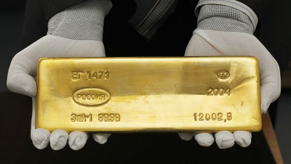 A gold bar from the collection of the Russian State Precious Metals and Gemstones Collection Fund under the Finance Ministry. (File) - Sputnik International