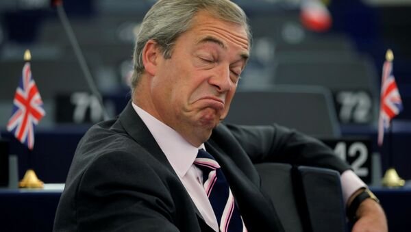 Nigel Farage, United Kingdom Independence Party (UKIP) member and MEP, waits for the start of a debate on the last European Summit at the European Parliament in Strasbourg, France, October 26, 2016. - Sputnik International