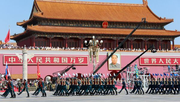 Mitary personnel of the 154th Preobrazhensky Independent Commandant's Regiment during a military parade conducted to mark the 70th anniversary of China's victory in the Second Sino-Japanese War and the 70th anniversary of the end of World War II - Sputnik International