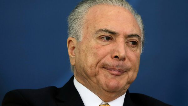 Brazil's President Michel Temer reacts during a meeting of the Council for Economic and Social Development (CDES) at the Planalto Palace in Brasilia, Brazil, November 21, 2016 - Sputnik International