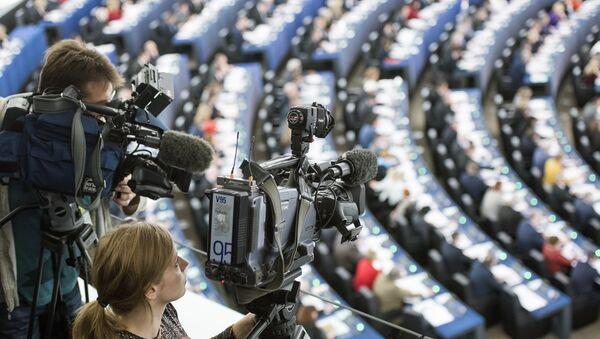 Journalists at work in the European Parliament in Strasbourg - Sputnik International