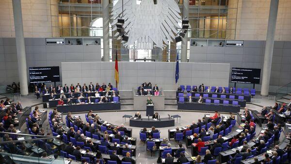 German Chancellor Angela Merkel speaks during a meeting at the lower house of parliament Bundestag on 2017 budget in Berlin, Germany, November 23, 2016 - Sputnik International