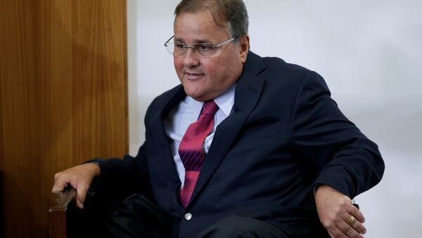 Brazilian minister Geddel Vieira Lima gestures during a meeting with deputies and government leaders of the Chamber of Deputies, in his office at the Planalto Palace in Brasilia, Brazil, November 22, 2016 - Sputnik International