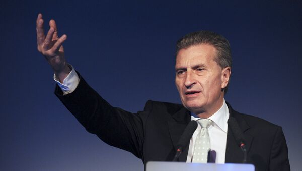 European Commissioner for Digital Economy and Society Gunther Oettinger addresses the opening of French employers' association Medef's Universite du Numerique at the Medef headquarters in Paris on June 10, 2015. - Sputnik International