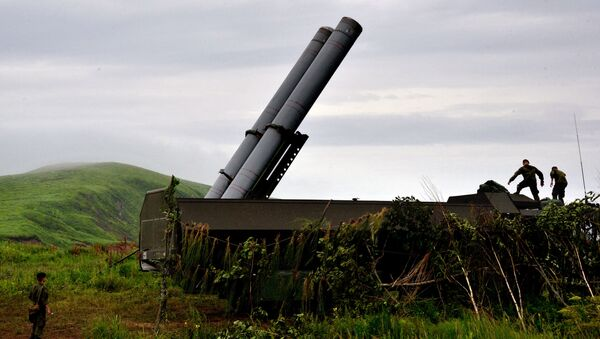 A Bastion coastal defense missile system during a drill in Primorsky Territory in the Russian Far East. - Sputnik International