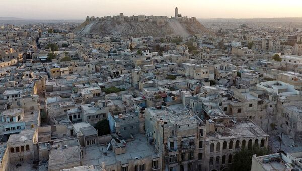 A general view taken with a drone shows Aleppo's historic citadel, controlled by forces loyal to Syria's President Bashar al-Assad, as seen from a rebel-held area of Aleppo, Syria, October 12, 2016 - Sputnik International