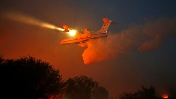 A Russian firefighter plane helps extinguish a new fire that broke out in the Israeli town of Nataf, west of the Arab Israeli town of Abu Ghosh, along the border with the occupied West Bank on November 25, 2016 - Sputnik International