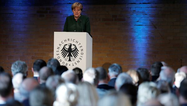 German Chancellor Angela Merkel gives a speech at the 60th anniversary of the founding of the German Intelligence Services (BND) in Berlin, Germany - Sputnik International