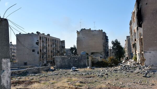 Damaged buildings are pictured in Hanano housing district after government forces took control of the area in Aleppo, Syria in this handout picture provided by SANA on November 27, 2016. - Sputnik International