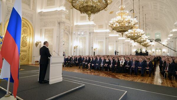 December 3, 2015. Russian President Vladimir Putin delivers his annual Presidential Address to the Federal Assembly at the Kremlin's St. George Hall. - Sputnik International