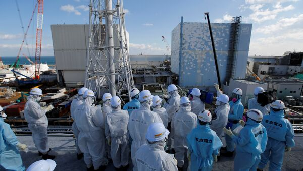Members of the media, wearing protective suits and masks, receive briefing from Tokyo Electric Power Co. (TEPCO) employees (in blue) in front of the No. 1 (L) and No.2 reactor buildings at TEPCO's tsunami-crippled Fukushima Daiichi nuclear power plant in Okuma town, Fukushima prefecture, Japan February 10, 2016. - Sputnik International