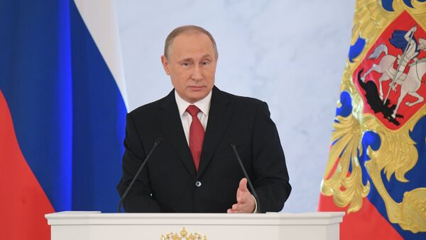 December 1, 2016. Russian President Vladimir Putin delivers his Annual Presidential Address to the Federal Assembly at the Kremlin's St. George Hall. - Sputnik International