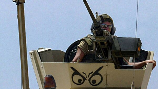 A Norwegian soldier, his armoured vehicle decorated with a Vicking helmet - Sputnik International