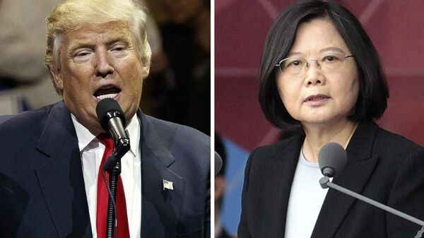 FILE - This combination of two photos shows U.S. President-elect Donald Trump, left, speaking during a USA Thank You tour event in Cincinatti Thursday, Dec. 1, 2016, and Taiwan's President Tsai Ing-wen, delivering a speech during National Day celebrations in Taipei, Taiwan, Monday, Oct. 10, 2016 - Sputnik International