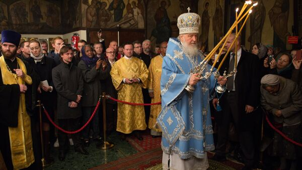 Patriarch Kirill of Moscow and All Russia during a matins of an all-night vigil in the Russian Orthodox Church of the Three Hierarchs in Paris, held as part of his visit to France - Sputnik International