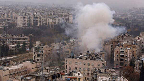 Smoke rises near Bustan al-Qasr crossing point in a government controlled area, during clashes with rebels in Aleppo, Syria December 5, 2016 - Sputnik International