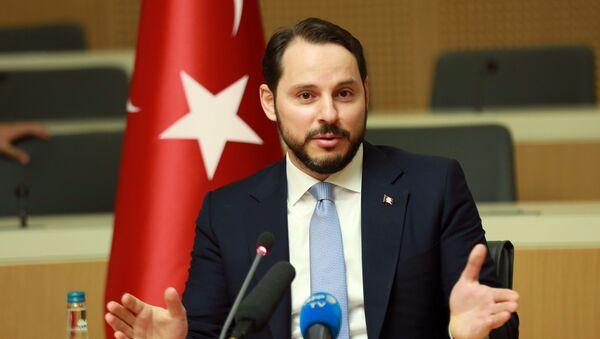 Turkish Minister of Energy Berat Albayrak gestures as he addresses the media in Ankara, on July 27, 2016 - Sputnik International