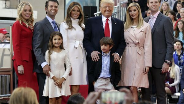 Republican presidential candidate Donald Trump, fourth from left, poses for a photo with family members on the NBC Today television program, in New York, Thursday, April 21, 2016 - Sputnik International