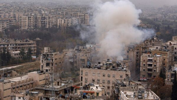 Smoke rises near Bustan al-Qasr crossing point in a government controlled area, during clashes with rebels in Aleppo, Syria December 5, 2016. - Sputnik International