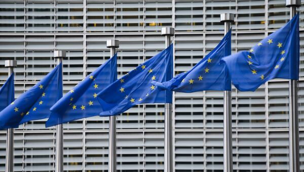 European Union flags in front of the European Commission headquarters in Brussels. (File) - Sputnik International