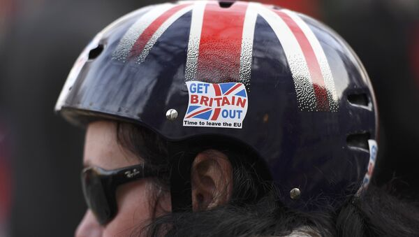 A cyclist wears a pro-Brexit badge on her Union flag themed helmet outside the Supreme Court on the first day of the challenge against a court ruling that Theresa May's government requires parliamentary approval to start the process of leaving the European Union, in Parliament Square, central London, Britain December 5, 2016. - Sputnik International