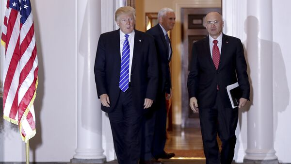 President-elect Donald Trump and Andy Puzder, chief executive of CKE Restaurants, walk from Trump National Golf Club Bedminster clubhouse in Bedminster, N.J - Sputnik International
