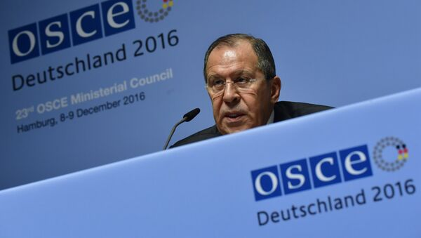 Russia's Foreign Minister Sergei Lavrov addresses a press conference during the foreign ministers' meeting of the Organisation for Security and Cooperation in Europe (OSCE) in Hamburg, northern Germany, on December 9, 2016. - Sputnik International