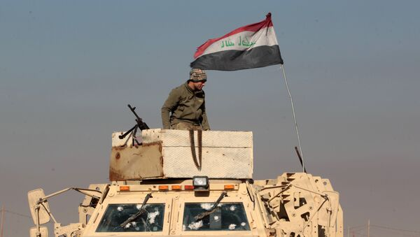 An Iraqi soldier stands atop an armoured vehicle in the town of Tal Abtah, south of Tal Afar, on December 10, 2016, after they retook the area during a broad offencive to retake the city of Mosul from Islamic State (IS) jihadists - Sputnik International