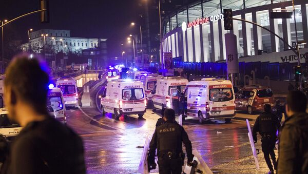 Police officers and ambulances fill the street next to the Besiktas football club stadium, in Istanbul, late Saturday, Dec. 10, 2016. Two loud explosions have been heard near the newly built soccer stadium and witnesses at the scene said gunfire could be heard in what appeared to have been an armed attack on police.Turkish authorities have banned distribution of images relating to the Istanbul explosions within Turkey. - Sputnik International