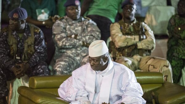 Incumbent Gambian President Yahya Jammeh looks on in Banjul on November 29, 2016, during the closing rally of the electoral campaign of the Alliance for Patriotic Reorientation and Construction (APRC) - Sputnik International