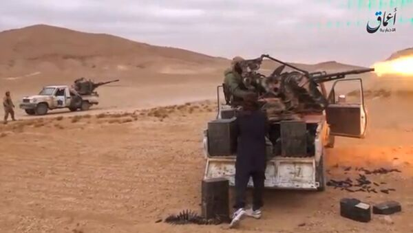 A still image taken on December 11, 2016 from a video released by Islamic State-affiliated Amaq news agency on December 10, 2016, purports to show Islamic State fighters advancing over the Hayan mountain south of Palmyra - Sputnik International