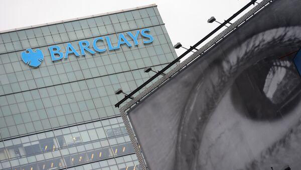Barclays' bank logo is seen above a billboard displaying art photography in New York, June 11, 2013 - Sputnik International