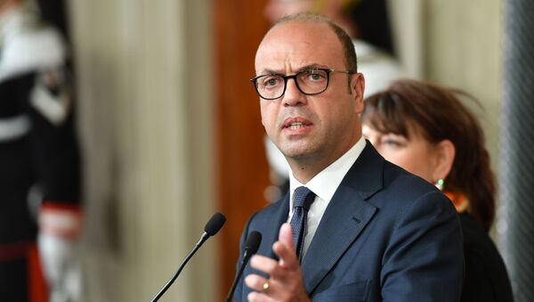 Angelino Alfano, Interior Prime Minister and leader of the New Center Right party speaks during a press point following a meeting with Italy's President Sergio Mattarella on December 10, 2016 at the Quirinale Palace in Rome - Sputnik International