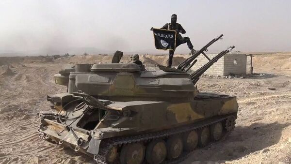 In this file photo released on Aug. 5, 2015, by the Rased News Network a Facebook page affiliated with Islamic State militants, an Islamic State militant holds the group's flag as he stands on a tank they captured from Syrian government forces, in the town of Qaryatain southwest of Palmyra, central Syria - Sputnik International