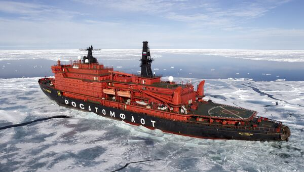 The nuclear icebreaker 50 Years of the Victory in the Arctic Ocean - Sputnik International