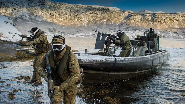 Pictured are Royal Marines and Royal Navy Personnel from 539 Assault Squadron performing a beach assault from an Offshore Raiding Craft (ORC) in Harstad, Norway (File) - Sputnik International