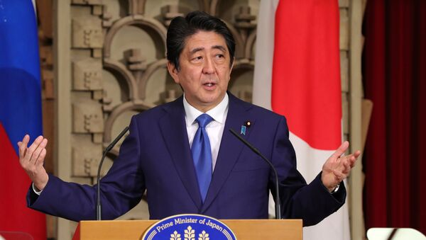December 16, 2016. Japanese Prime Minister Shinzo Abe during a joint press conference with Russian President Vladimir Putin following their meeting in Tokyo. - Sputnik International