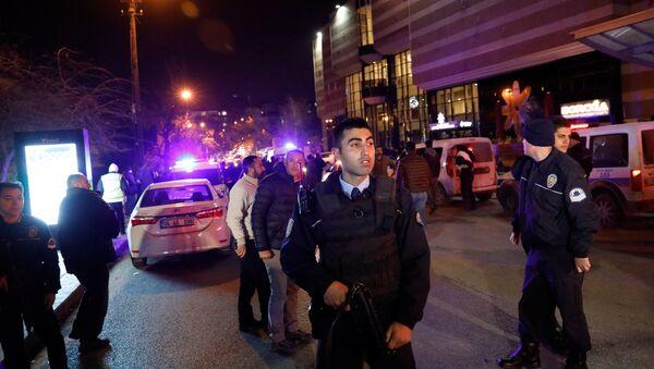 Turkish police secure the area near an art gallery where the Russian Ambassador to Turkey Andrei Karlov was shot, in Ankara, Turkey, December 19, 2016 - Sputnik International