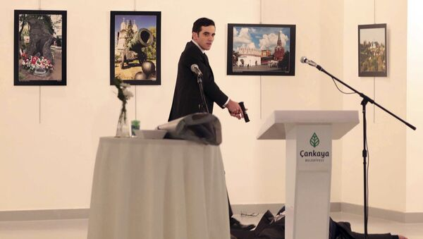 An unnamed gunman shouts after shooting the Russian Ambassador to Turkey, Andrei Karlov, at a photo gallery in Ankara, Turkey, Monday, Dec. 19, 2016 - Sputnik International
