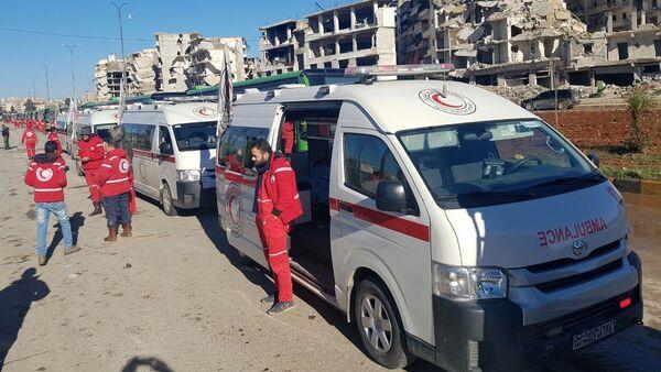 Ambulances in a liberated neighborhood of eastern Aleppo, Syria - Sputnik International