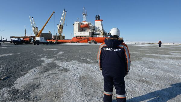 A worker watches a ship being unloaded at Sabetta seaport in the Yamal-Nenets Autonomous Area. (File) - Sputnik International