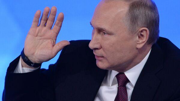 President Vladimir Putin during his twelfth annual news conference at Moscow's World Trade Center in Krasnaya Presnya - Sputnik International