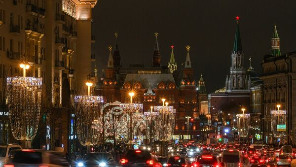 Moscow's Tverskaya Street decorated for the New Year - Sputnik International