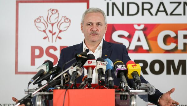 Leader of Romania's leftist Social Democratic Party (PSD) Liviu Dragnea gestures during a news conference following the end of the parliamentary elections, in Bucharest, Romania December 11, 2016 - Sputnik International