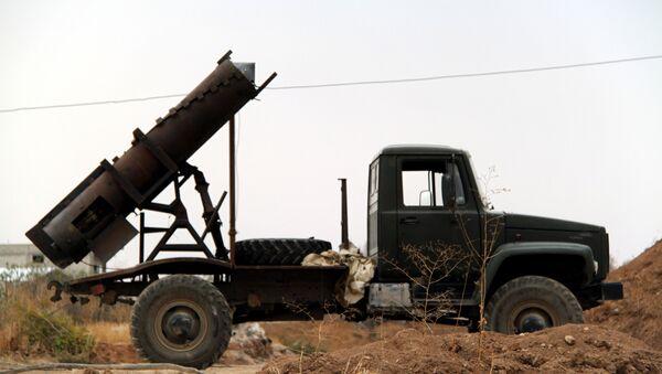 Self-made missile launcher El-Fil (the English for elephant) based on truck GAZ outside Damasсus. (File) - Sputnik International