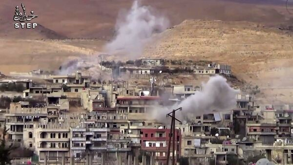 This frame grab from video provided By Step News Agency, a Syrian opposition media outlet that is consistent with independent AP reporting, shows smoke rise from the alleged government forces shelling on Wadi Barada, northwest of Damascus, Syria - Sputnik International