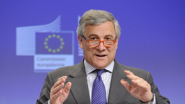 European Commission Vice President Antonio Tajani gives a press conference after the meeting Towards a more competitive and efficient European defence and security sector at the EU Headquarters in Brussels on July 24, 2013 - Sputnik International