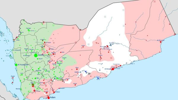 Insurgency in Yemen according to published reports. Green indicates areas controlled by the Houthis, Red by the Hadi government and allies, White by al-Qaeda in the Arabian Peninsula, and Black by Daesh. - Sputnik International